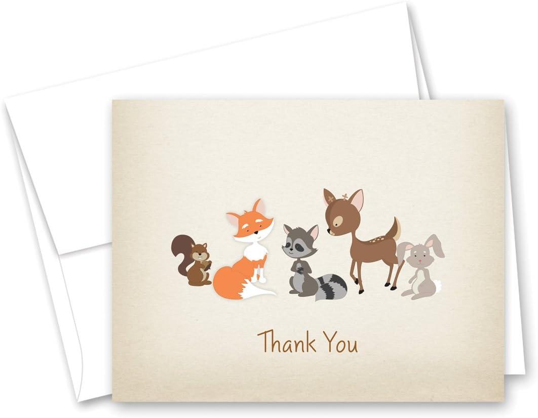 Lillian Rose 12 Piece Woodland Animals Thank You Cards