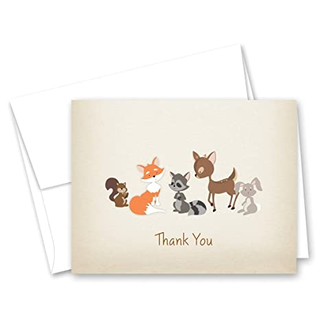 50 cnt woodland animals rustic baby shower thank you cards