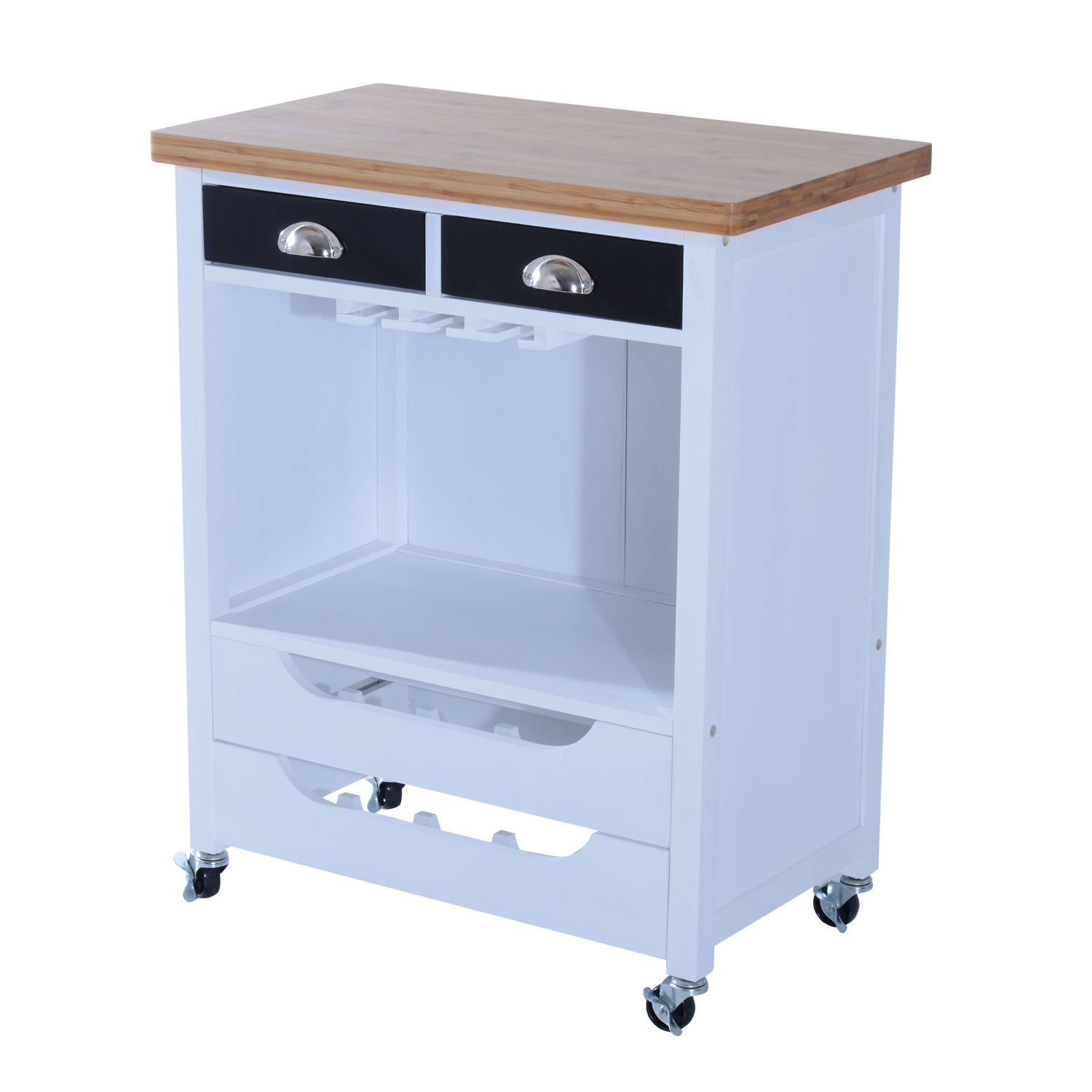 New Island Wheels Drawer Wood MDF W/ Red Wine Rack Rolling Kitchen Cart Trolley