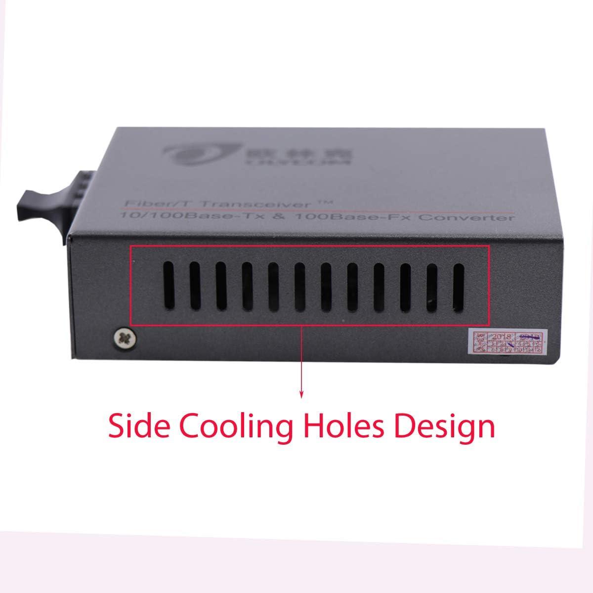 10//100Mbps Rate RJ45 to Optic Fiber SC Ethernet Media Converter Single Mode Double-Core CAT5 Transceiver 20km 1310nm