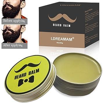 Beard Balm,Cera Para Barba,Bálsamo para Barba,Barba Bálsamo,thickens, fortalece, suaviza, doma y estilos y crecimiento del cabello,Regalo para hombres ...