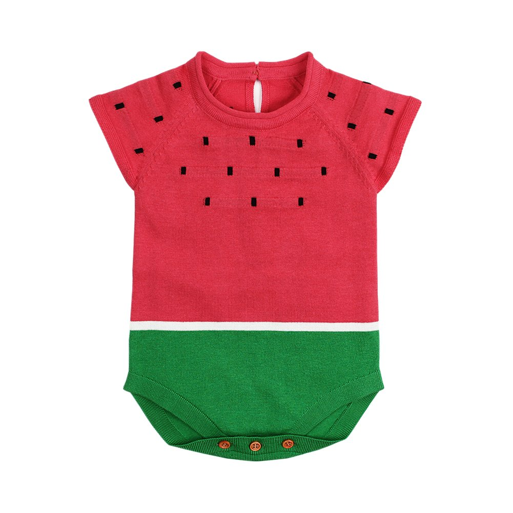 mimixiong Baby Girls Knitted Romper Toddler Cartoon Watermelon Short Sleeve Overalls Jumpsuit