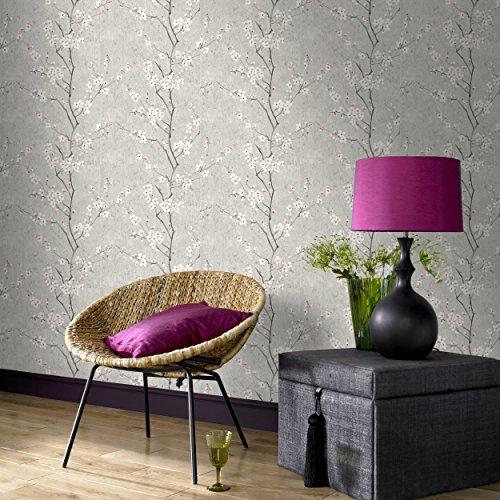 - Graham & Brown 102959 Sakura Soft Grey/White / Pink Wallpaper