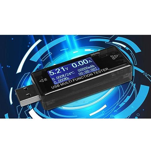 UEETEK Multi-fucntional Cargador USB Tensión y probador de corriente Multímetro LCD USB Detector Voltímetro Amperímetro Potencia Capacidad Medidor ...