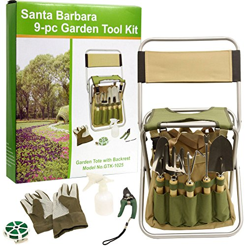 Gardening Tools Santa Barbara 9-Piece Garden Tool Set, Olive Green by Wagner Power Products