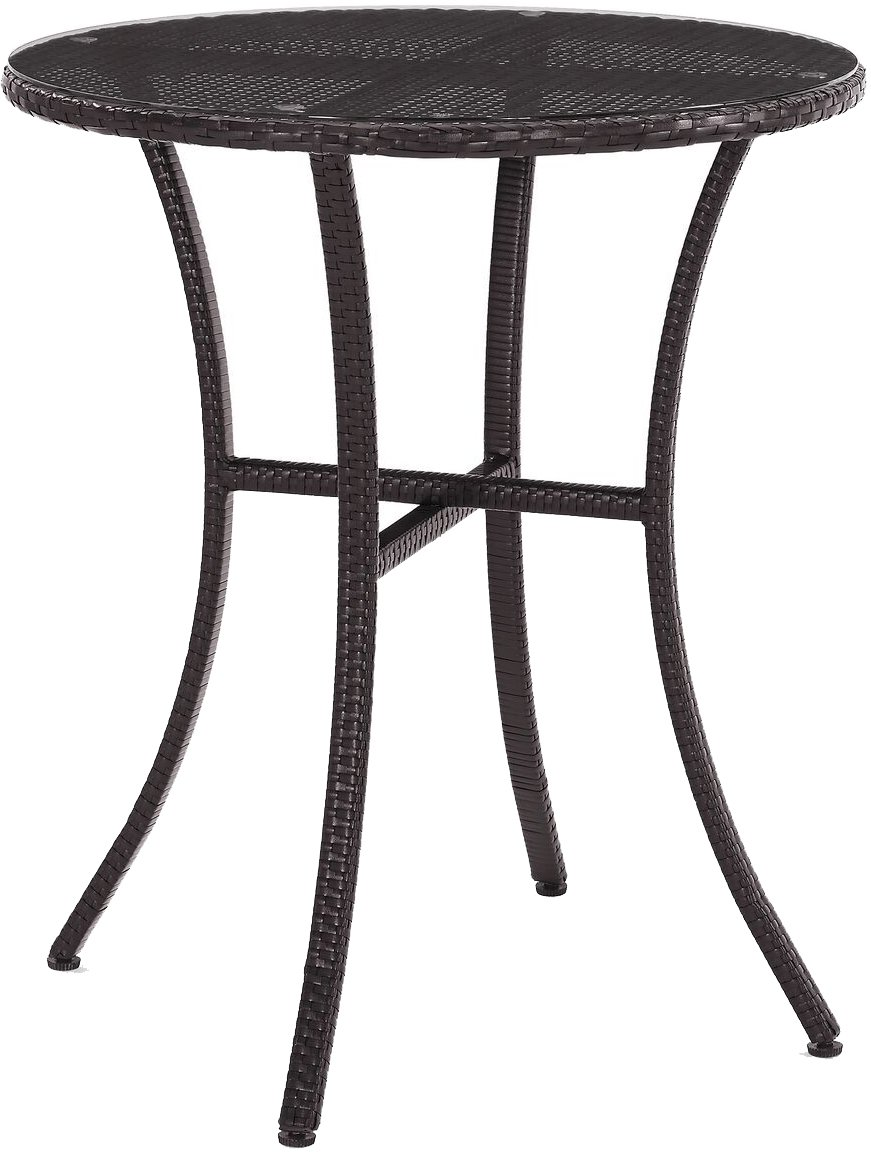 Amazon com crosley furniture palm harbor outdoor wicker bistro table with glass top brown garden outdoor