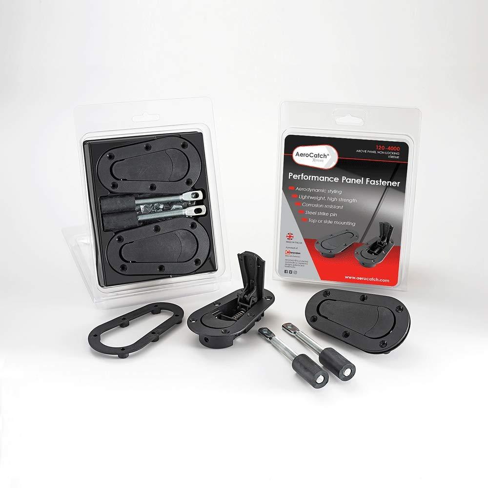 AeroCatch Xtreme Plus Flush Hood Latch and Pin Kit - Black - Part # 120-4000