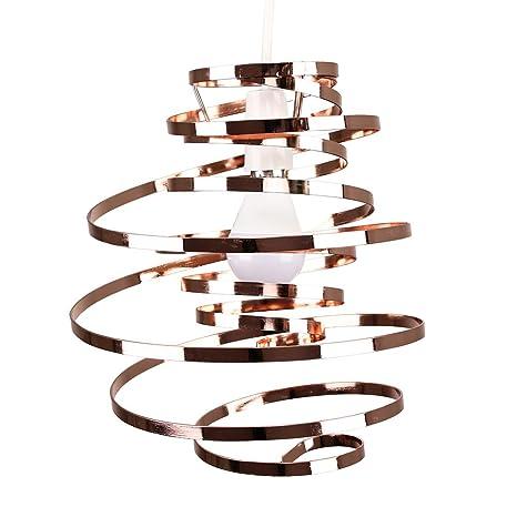MiniSun - Original pantalla para lámpara de techo con diseño en espiral – color cobre