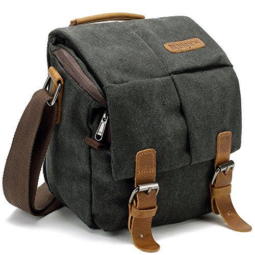 BLUBOON Vintage Canvas Camera Bag Shockproof Leather DSLR SLR Messenger Shoulder Bag Waterproof (Black)