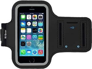 i2 Gear i5-AB Reflective Neoprene Running Armband with Key Holder for iPhone Se (2016), 5, 5S, 5C - Black