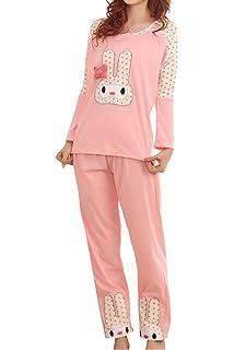 Lasher Womens Rabbit Pattern Long Sleeve Pajamas Set Cute Sleepwear Nighty