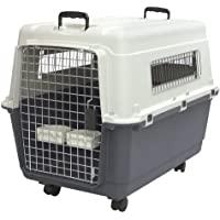 SportPet Designs Plastic Kennels Rolling Plastic Airline Approved Wire Door Travel Dog Crate