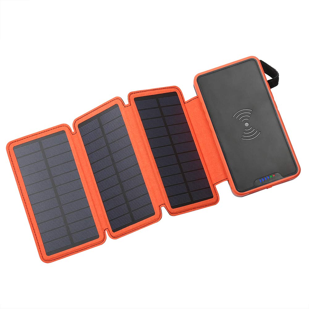 Solar Power Bank,Portable Solar Charger,Qi Wireless Charger 20000mAh with Dual 2.1A USB Outport,Waterproof External Battery Pack with Flashlight for iPhone,ipad, Cell Phone,More(Shockproof&Dustproof) by izcckn