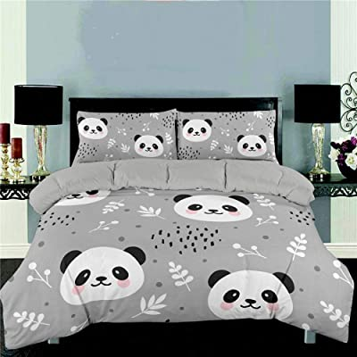 YZBEDSET Gray Cartoon Panda 3D Bedding Set Printed Cute Animal Duvet Cover Set Twin Full Queen King Size Bedspread for Girl Kids Gifts,Us Twin 173X218Cm: Kitchen & Dining