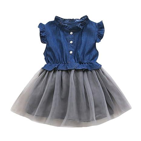 feiXIANG Bebé recién Nacido bebé niña bebé Mezclilla Costura Costura Vestido de Princesa Vestido Pettiskirt Traje