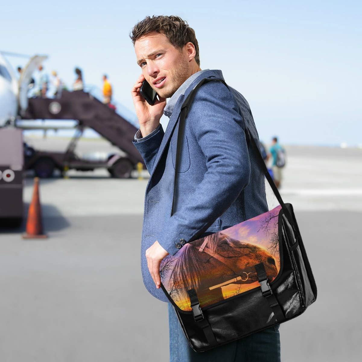 Messenger Bag Horse On Sky Sunset Unisex Satchel Office Briefcase Casual Canvas Shoulder Bag College Laptop Bag for Men Women