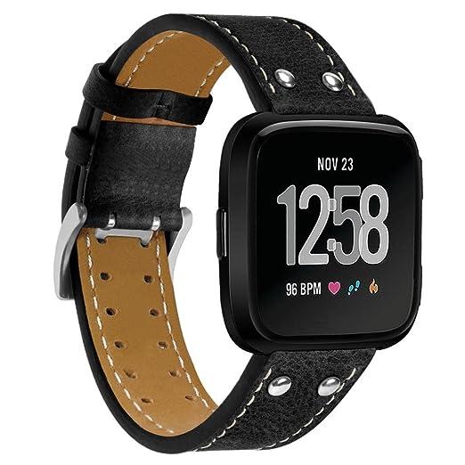 MYQyiyi Reemplazo Correa de Cuero de Reloj Ajustar para Fitbit Versa: Amazon.es: Relojes