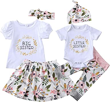 Aslaylme Big Sister Little Sister Matching Outfits Floral Clothes Set