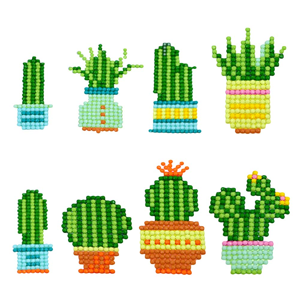 DIY 5D Easy Diamond Painting Kits by Numbers Crystal Gems Arts Crafts BENBO 8Pcs Cactus Diamond Painting Stickers for Kids and Adult Beginners