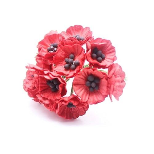 Poppies for veterans day amazon changthai design red 50 mulberry paper poppy flower wedding card craft 2 cm mightylinksfo