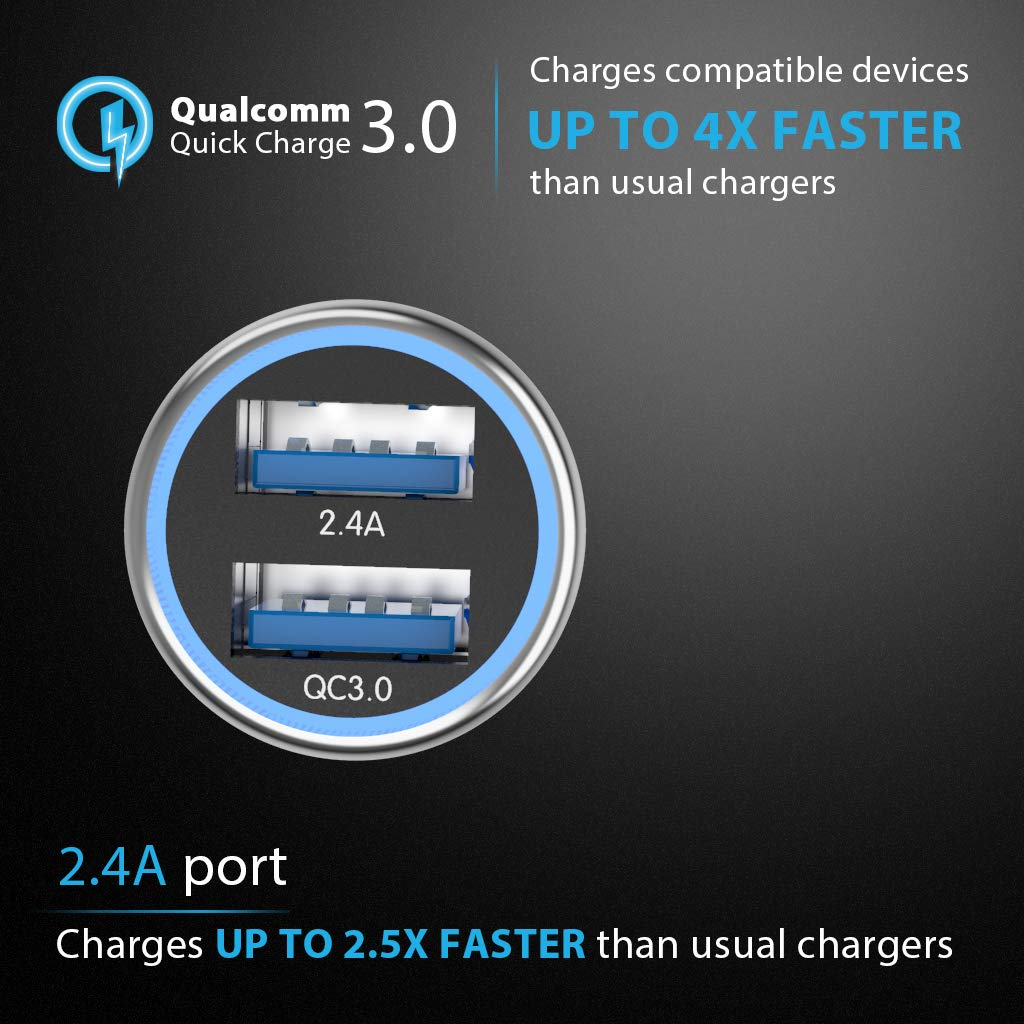 Coiled Cable 24W // 4.8A, Made of Brass 3.3 ft with Car Charger Quick Charge 3.0 Smart IC Metal Dual USB Car Charger Adapter CC-02 4348715081