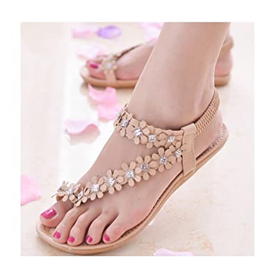 6fb0f57f1ec9cd Fullkang Elegant Women Summer Bohemia Flower Beads Flip-Flop Shoes Flat  Sandals (US 5