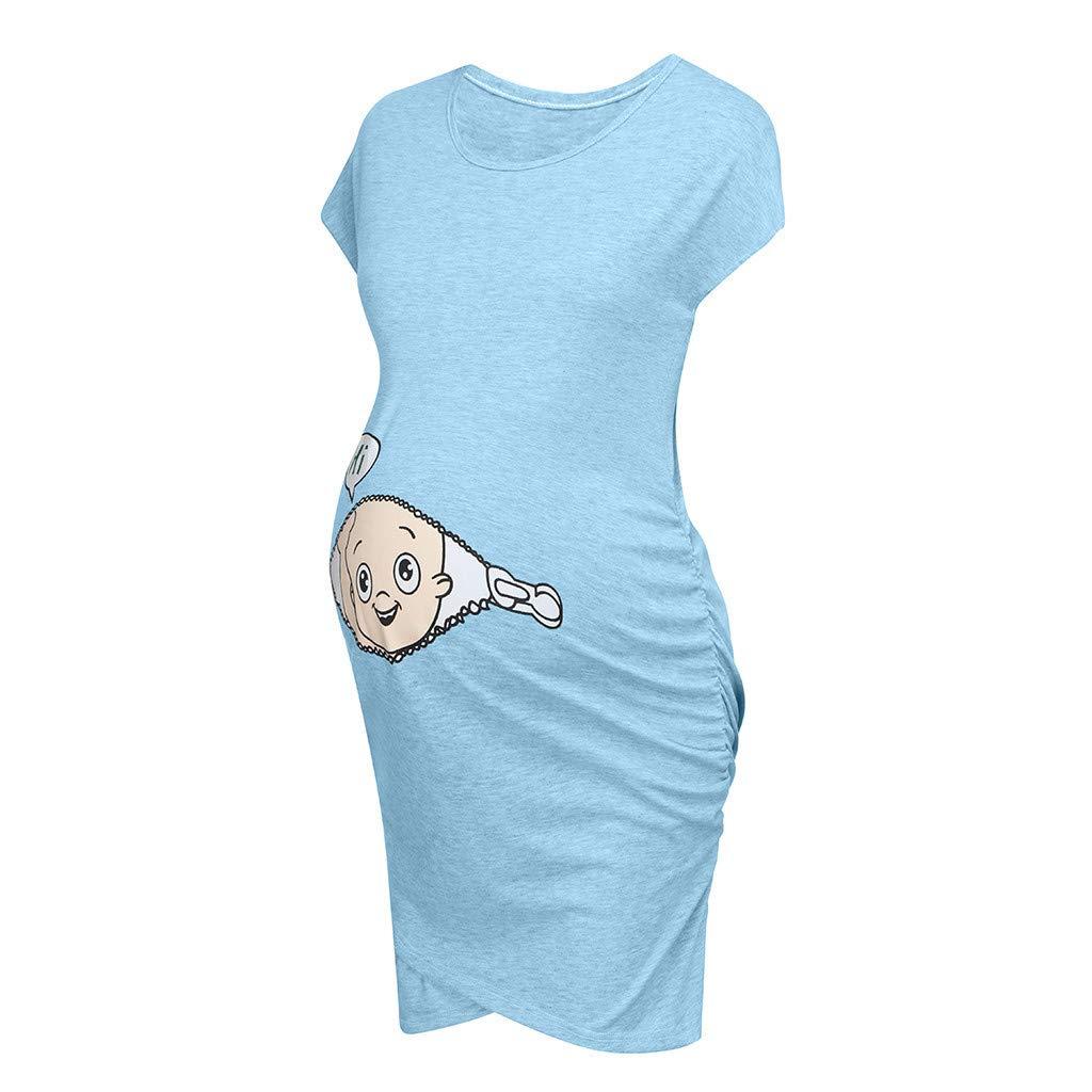 Vestido Embarazada de Moda Impresi/ón de Dibujos Animados Vestido Sin Manga Vestido de Lactancia Talla Grande Faldas Largas Verano Vestido Premam/á,Ropa Maternidad Divertida