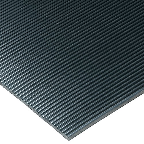 Corrugated Vinyl Black 2' x 100' Runner Mat 1/8