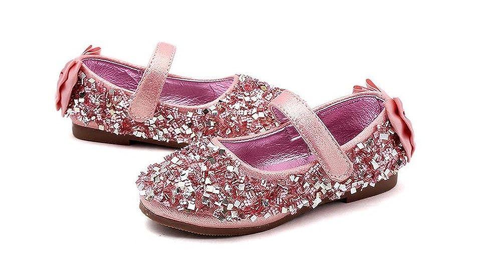 eleganceoo Girls Cosplay Princess Shoes Low Heel with Crystal Flower