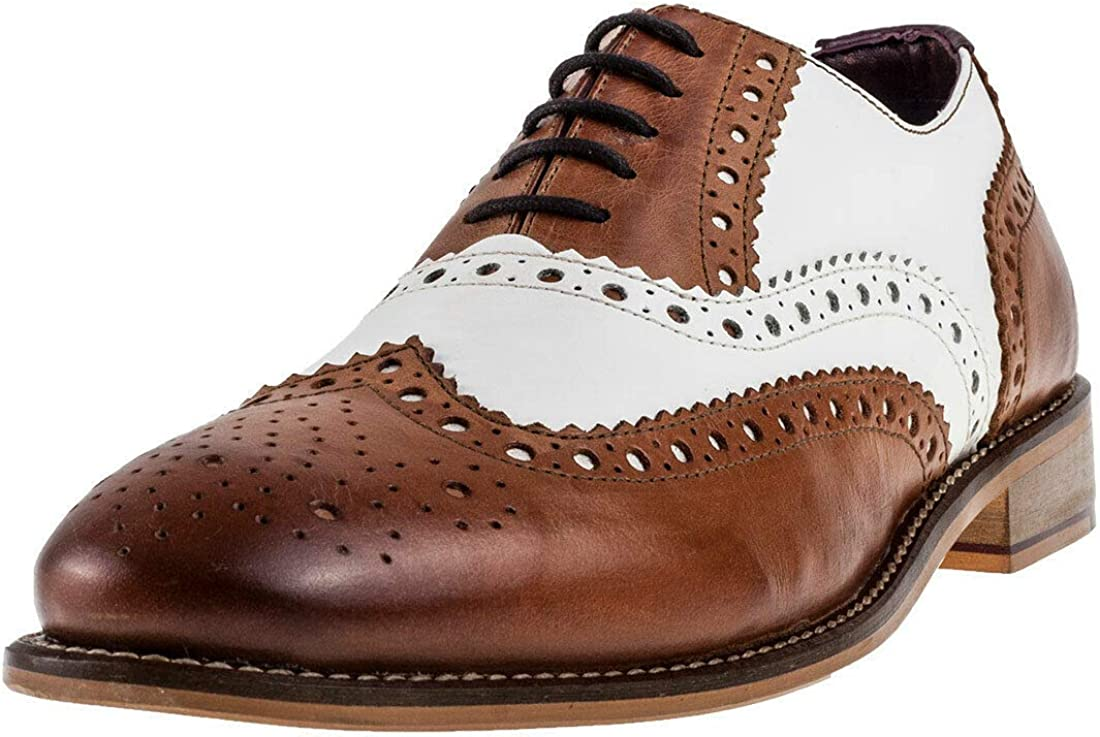 London Brogues Gatsby Bordo Hi Shine UK 14 Men/'s Real Leather Smart Formal Work
