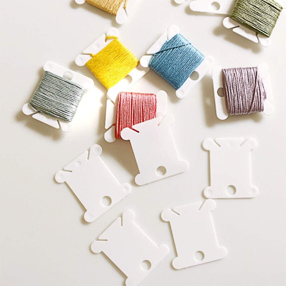 300 Pieces Plastic Floss Bobbins for Embroidery Floss Organizer Cross-Stitch Bobbins Card Thread Holder Craft DIY Sewing Storage