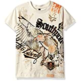 Southpole Little Boys' Kids Short Sleeve Flock Print Eagle Graphic Tee, Bone, Small