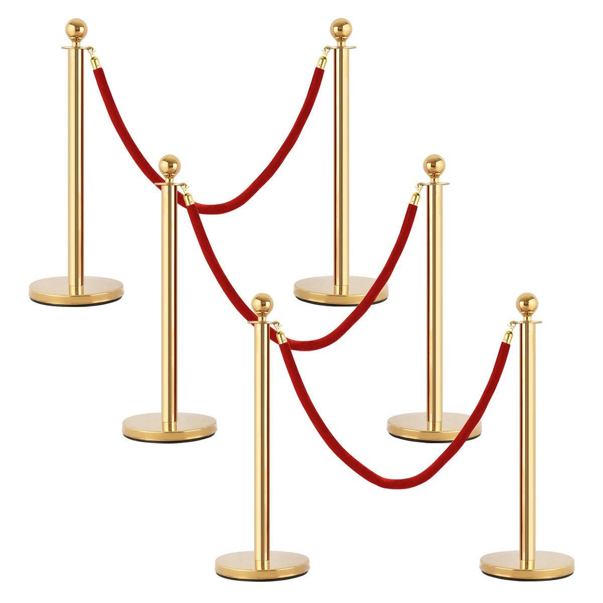 Goplus 6Pcs Stanchion Posts Queue Pole Retractable 4 Velvet Ropes Crowd Control Barrier