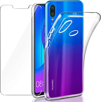 Leathlux Funda + Cristal para Huawei P Smart Plus, Transparente ...