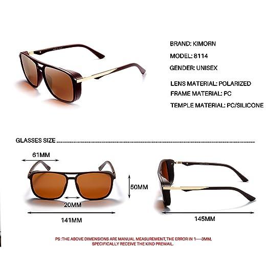 f4b7769c57 Amazon.com  Kimorn Polarized Sunglasses For Men Square Frame Unisex Outdoor  Sports Goggle Classic K0623 (Brown)  Clothing