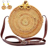 VIET'S Bali Style Round Rattan Bags for Women, Adjustable Genuine Leather Straps