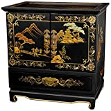 Oriental Furniture Empress Lacquer Jewel Box (Black Crackle)