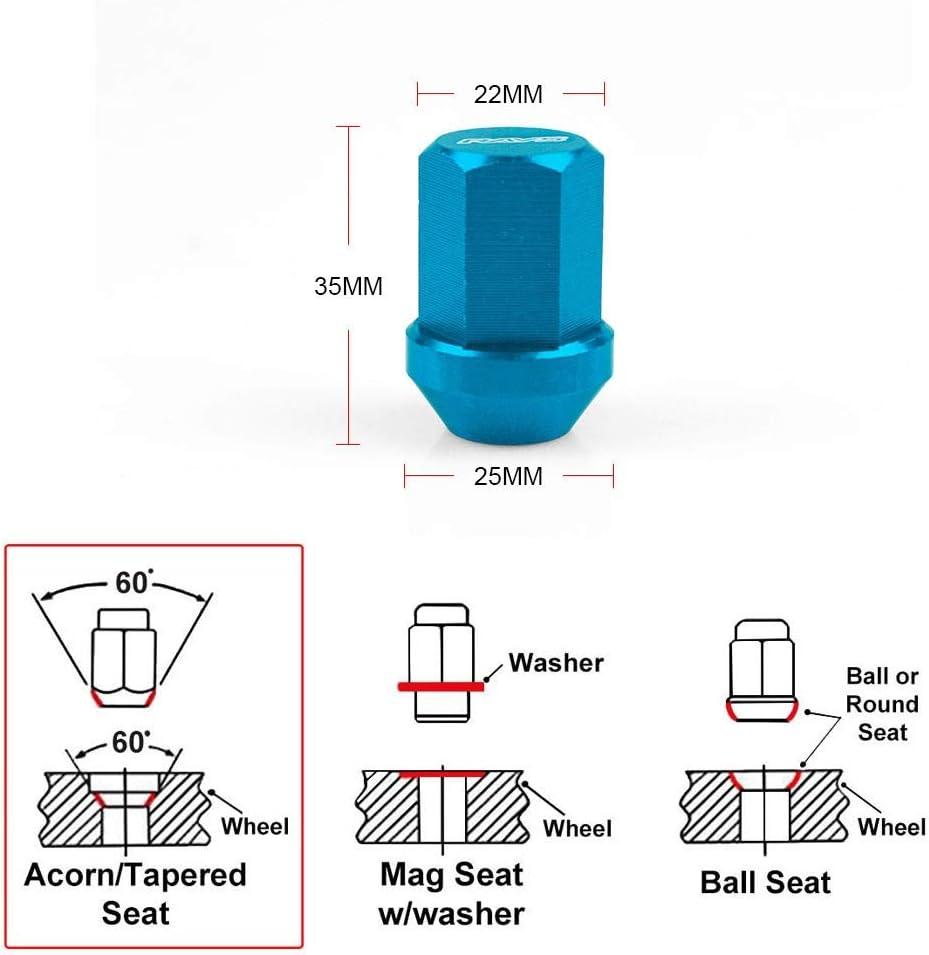 Farbe : Blue, Gr/ö/ße : M12x1.25 NO LOGO LLB-LUNMAO Performace Alu-Radsicherungsmuttern Racing Radmuttern L/änge 35MM 12x1,5//1,25