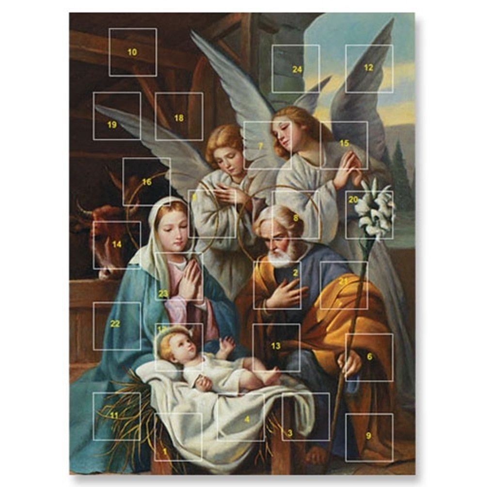 Blessed Art Thou Holy Family with Angels 10 Inch Cardstock Advent Calendar