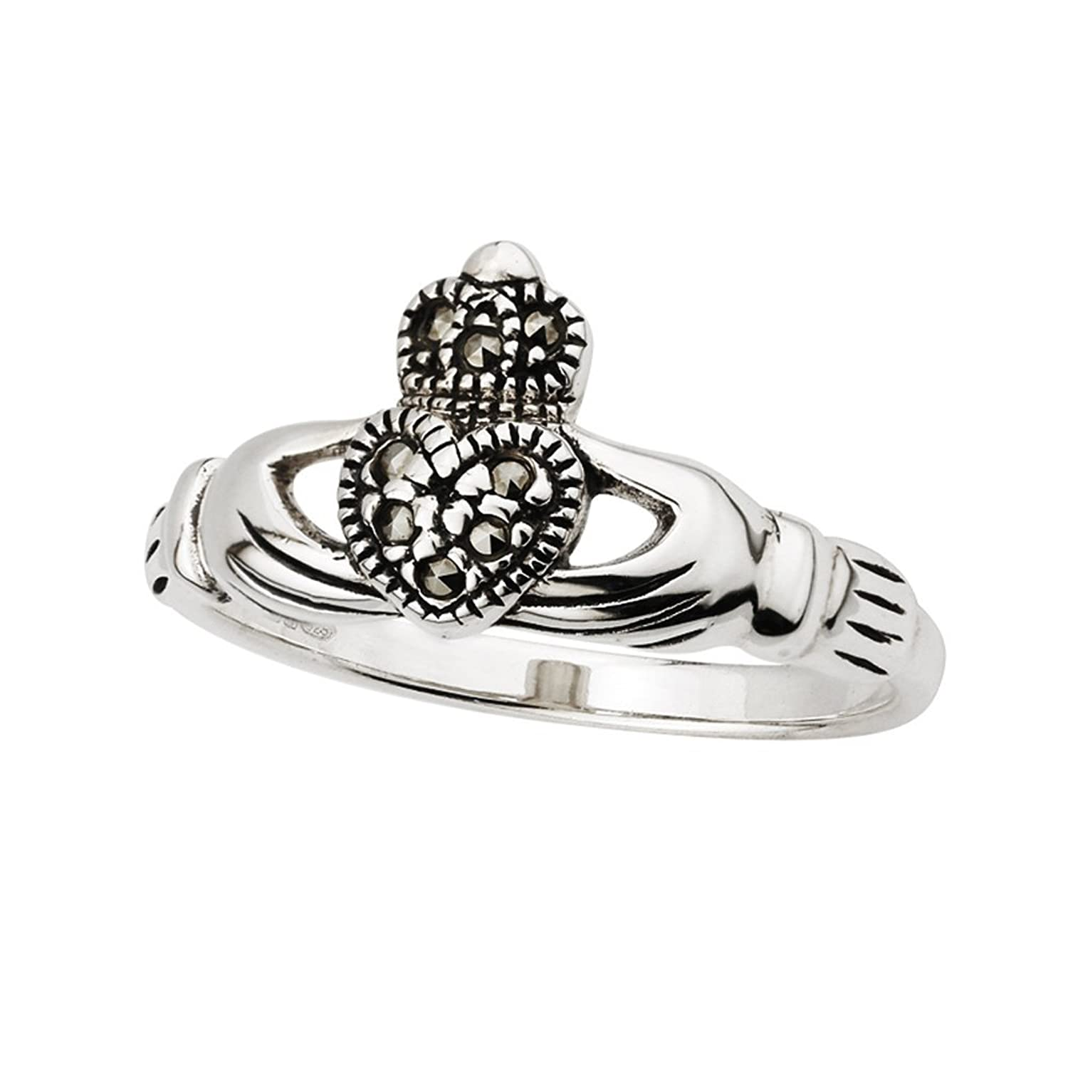 Claddagh Ring Sterling Silver & Marcasite Sz 7.5