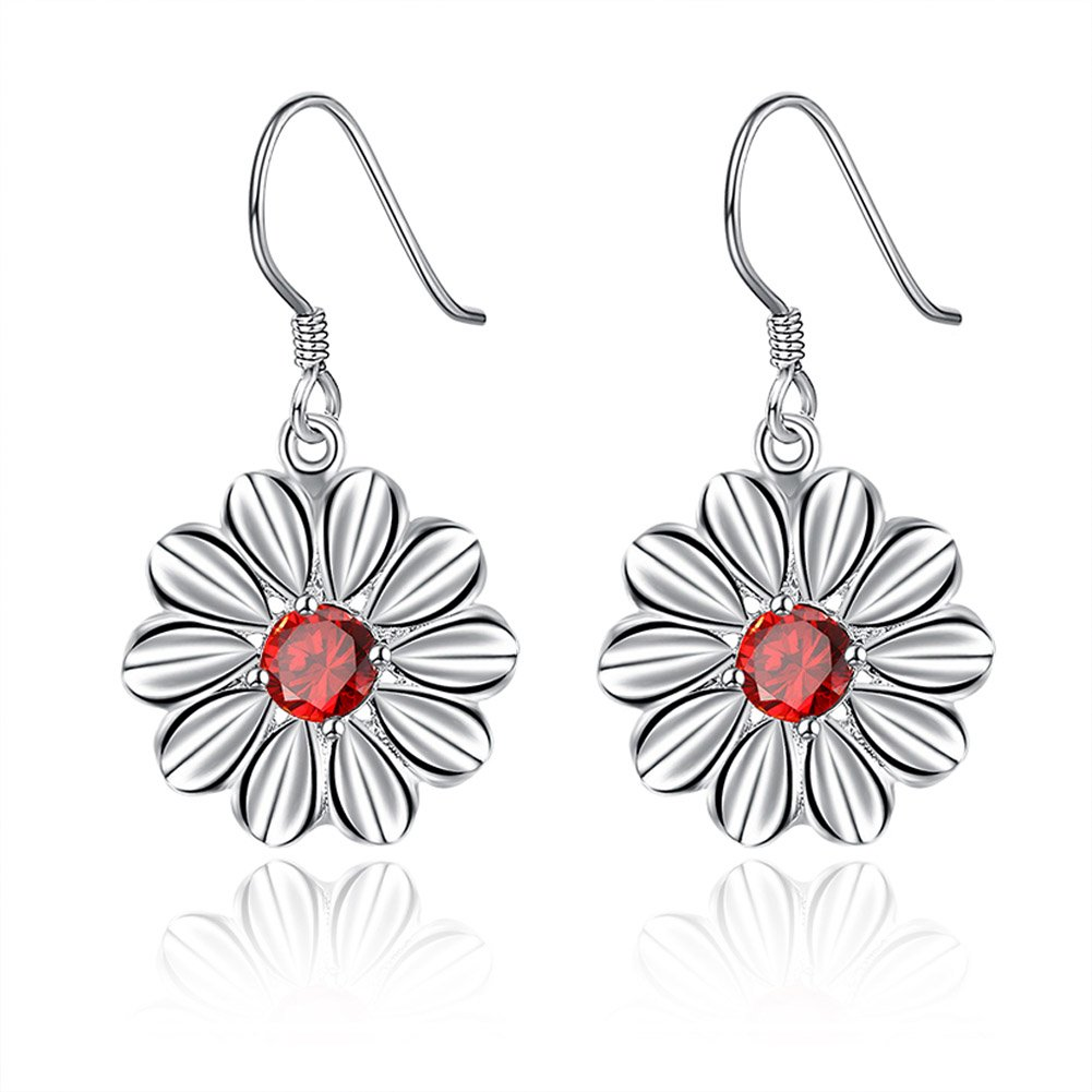 MXYZB Silver Plated Daisy Flower Dangle Earrings Red Cubic Zirconia Jewelry for Women Girls by MXYZB (Image #1)
