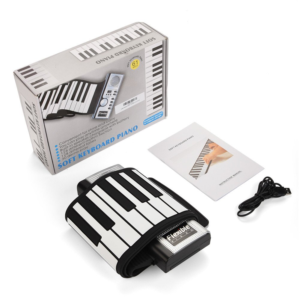 Dwawoo Portable Rolling Up Piano, 61 Keys Electronic Soft Piano Keyboard Hand Rolling Keyboard for Kids Beginners by Dwawoo