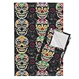 Roostery Skull Day of The Dead Skeleton Bone Mexican Halloween Sugar Skull Tea Towels Sweet and Happy Calaveras by Chicca Besso Set of 2 Linen Cotton Tea Towels