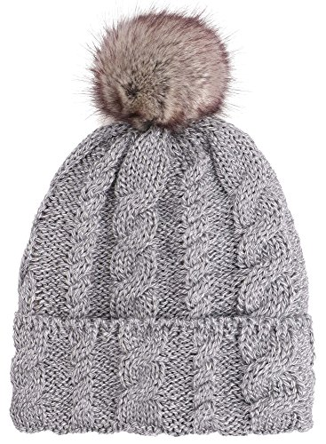Arctic Paw Women Winter Warm Knit Beanie Hat with Faux Fur Pompom, Grey
