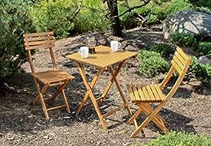 Balcón Juego de acacia con dos sillas y una mesa