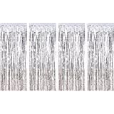 Sumind 4 Pack Foil Curtains Metallic Fringe Curtains Shimmer Curtain for Birthday Wedding Party Christmas Decorations (Silver): more info