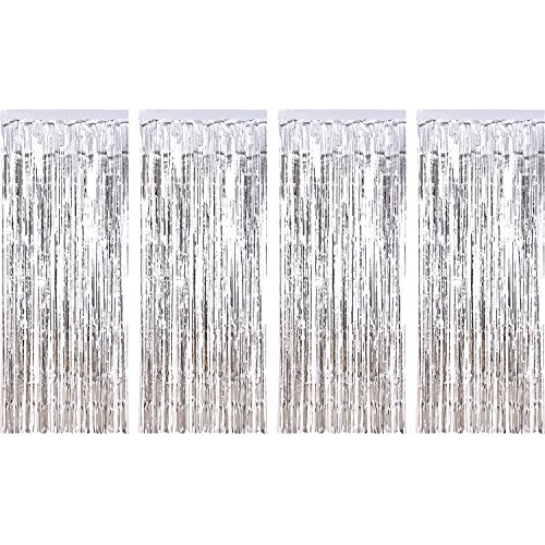 Silver Baby Shower Decorations (Sumind 4 Pack Foil Curtains Metallic Fringe Curtains Shimmer Curtain for Birthday Wedding Party Christmas Decorations)