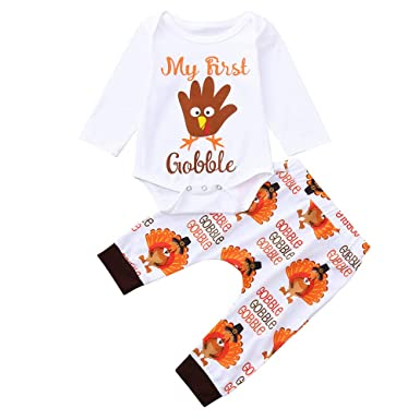 620f2e0dd4ab Amazon.com  Staron Newborn Baby Boy Girl Infant Thanksgiving Rompers  Jumpsuit+Long Pants Outfit  Clothing