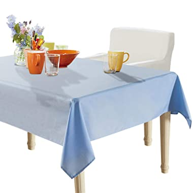 YEMYHOM 100% Polyester Spillproof Tablecloths for Rectangle Tables 60 x 84 Inch Indoor Outdoor Camping Picnic Rectangular Table Cloth (Light Blue)