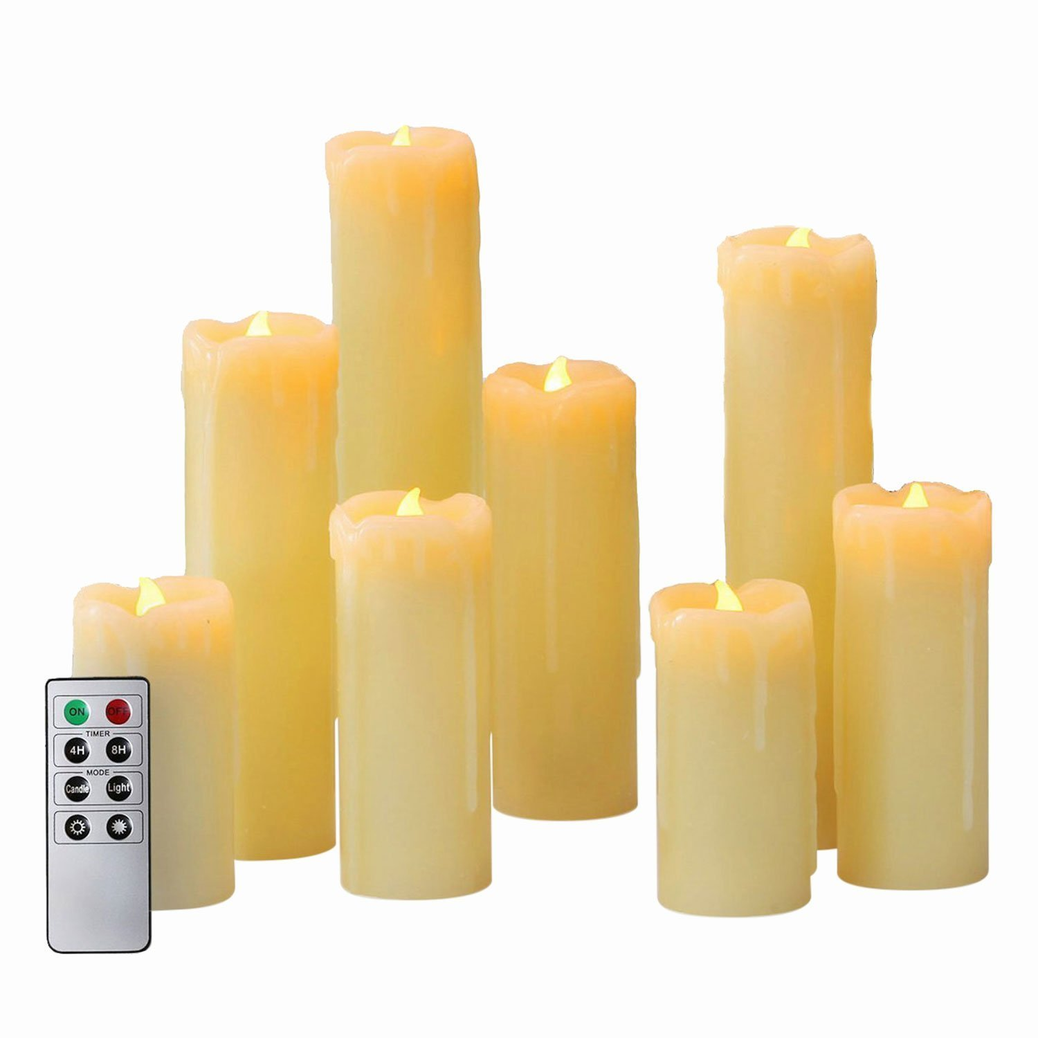 Flameless LED Candles by LampLust | Battery Operated, Ivory Wax Drip, Heights of 4'',5'',6'',7'',8'' | Batteries & Remote Included | Set of 8